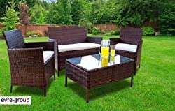 Evre Home & Living Rattan Garden Furniture Set Patio Conservatory Indoor Outdoor 4 piece set table chair sofa (Brown)