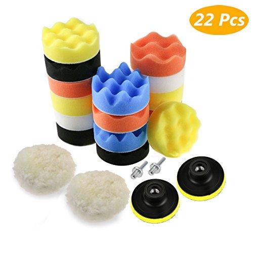 Zaeel Polierschwamm für Auto, 22pcs Polierschwamm Kit mit Polierpad und M10 Bohrer Adapter, aus Schwamm und Wolle Polierset Polierhaub Polierauflage für Poliermaschine