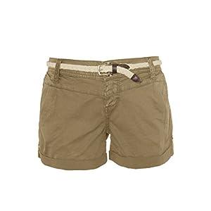 Eight2Nine Damen Shorts mit süßer Häkelspitze | Leichte Kurze Hose im Chino-Style mit Flechtgürtel