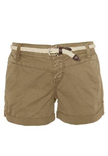 Eight2Nine Damen Shorts mit süßer Häkelspitze | Leichte Kurze Hose im Chino-Style mit Flechtgürtel beige XL