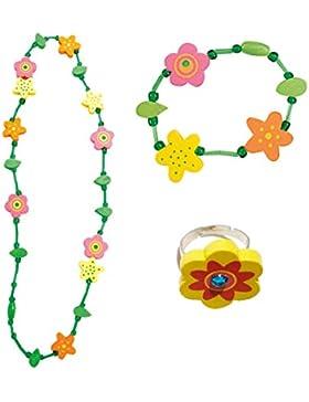 3 tlg. Set Mädchenschmuck Motiv Blumen - Halskette Armband Ring - VERSANDKOSTENFREI nach BRD