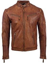 Giacca da uomo motociclista 100% vera pelle super morbida laterale e spalla dettaglio di MDK