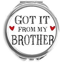 DIYthinker Para mi familia que recibió de Mi Hermano Presente espejo redondo portable de la mano