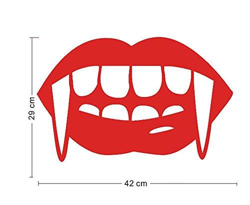 Vampir Zähne Halloween Mauer Aufkleber Lächeln Zähne Kunst Wandgemälde Tapete Abziehbilder PVC Abnehmbar Wasserdicht DIY Zuhause Küche Fenster Dekoration , 10 set , 42*29cm (Zähne Vampir Namen)