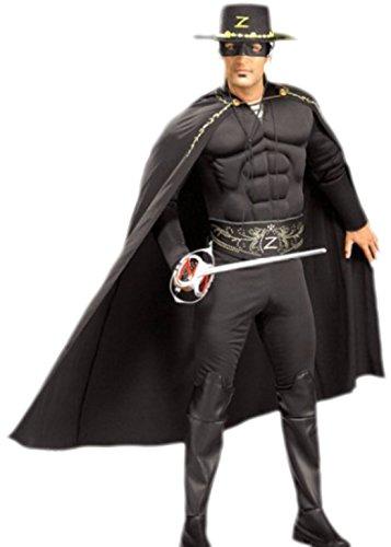 Fancy Ole - Herren Männer Karnevalskomplett Kostüm Zorro Jumpsuit , L, Schwarz