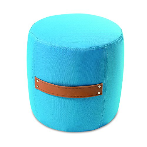 My Note Deco 065853 Mitsy Pouf Tissus Polyester Lagon/Brun 33 cm