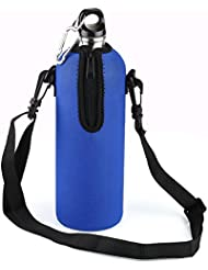 VERY100 1000 ml Botella Deportiva de Acero Inoxidable + Funda Impermeable azul para Ciclismo