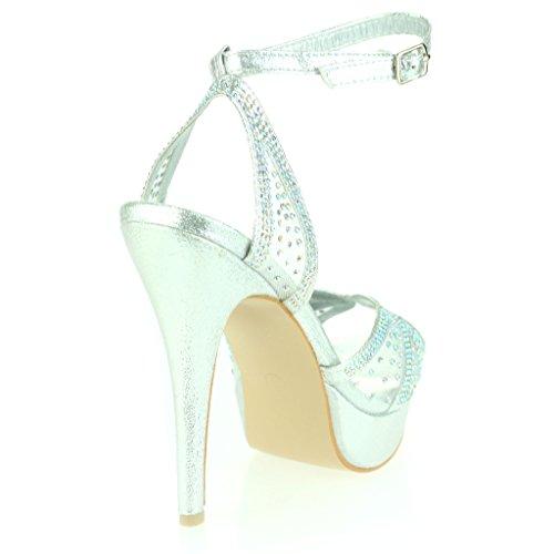 Femmes Dames Diamante Peeptoe Plateforme Sangle de Cheville Mince Talon Haut Soir Fête Mariage Bal de Promo De Mariée Stiletto Des Sandales Chaussures Taille Argent