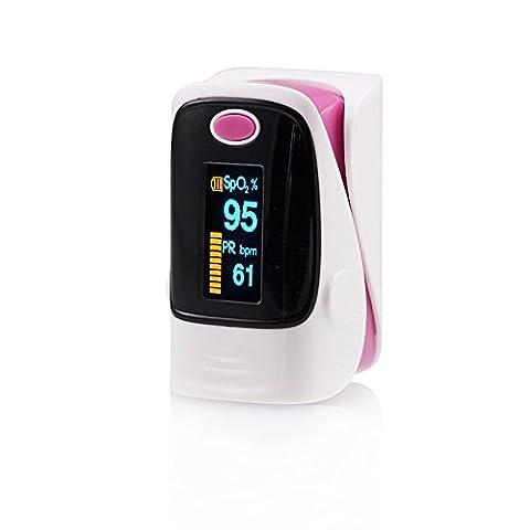 gpyoja Oxymètre de pouls doigt & Sang Saturation en oxygène Monitor–Moniteur de fréquence cardiaque pour adulte, avec lanière, d'alarme, utilisation Sport uniquement, ce Approuvé, rose, petit