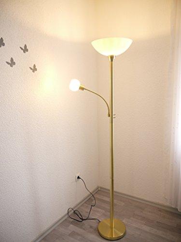 LED Stehleuchte mit Lesearm Johanna Standleuchte messing Glas weiß Fluter Standlampe Leseleuchte LED austauschbar