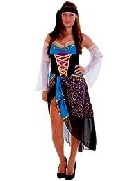 erdbeerloft - Damen Karneval Kostüm- Bauchtanz Volklore Griechin Piratenbraut, blau gold, 36-40