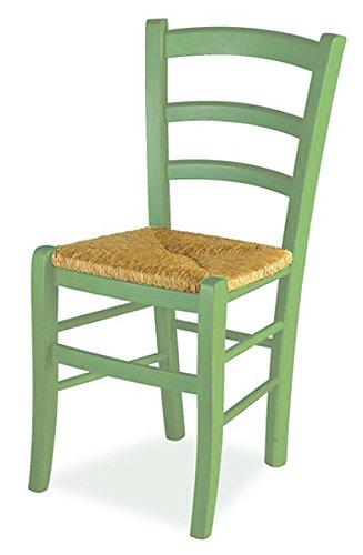Mobili ilar set 2 sedie venezia - anilina verde 105 sedile paglia