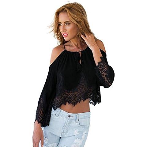 FEITONG Atractivo de las mujeres forman la blusa del cordón de la gasa Hombro manga larga top de la