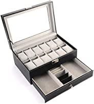 PU Leather Double Layer 12PCS Jewelry Watch Bracelet Storage Box with Glass Plate Window