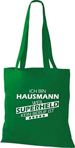 Shirtstown Stoffbeutel Ich bin Hausmann, weil Superheld kein Beruf ist kelly