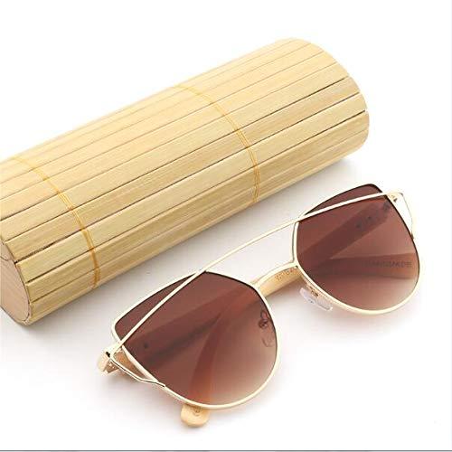 LKVNHP Frauen Spiegel Sonnenbrille Rose Gold Super Star Bambus Holz Sonnenbrille Polarisierte Uv400 ObjektivGoldenTea