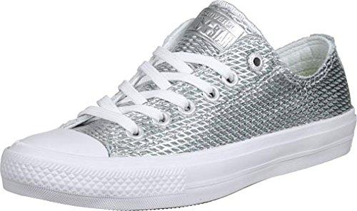Converse 555800 Chuck Taylor All Star II Unisex Sneaker (Silver/White/White) Silver/White/White
