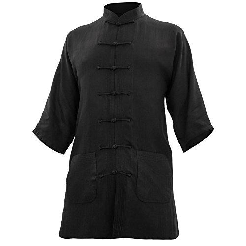 wu designs Baumwolle (Leicht) Kung Fu & Tai Chi Shirt Stehkragen Kurzarm - Taiji Anzug Schwarz 170