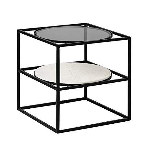 Home Beistelltisch Desksimple Schmiedeeisen Couchtisch Square Nachttisch Black Metal Frame Glas Marmor Double-Layer Tabletop Home Hotel Kreative Möbel, BOSS LV