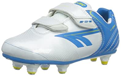 Hi-Tec EOS Sonic Si, Boys' Football Boots, White/Cyan/Yellow, 10 Child UK