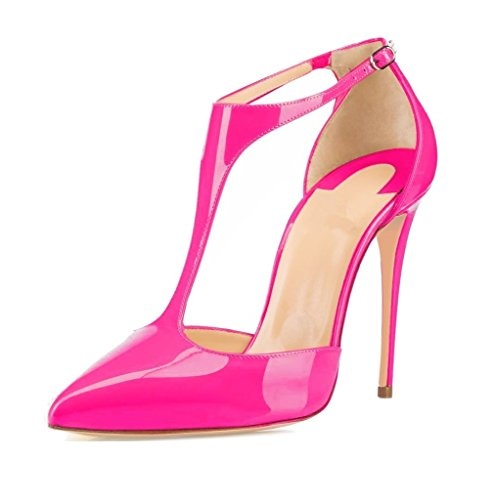 EDEFS Damen Ankle Strap Pumps Spitze Toe Stiletto Heels Sommer Schuhe Rose Größe EU42 Ankle Strap T-strap-pumps