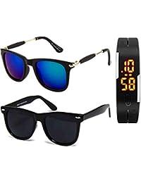 c5ac873e340 Sheomy Golden Frame Black Glass Aviator   Full Black Wayfarer Unisex  Sunglasses (55