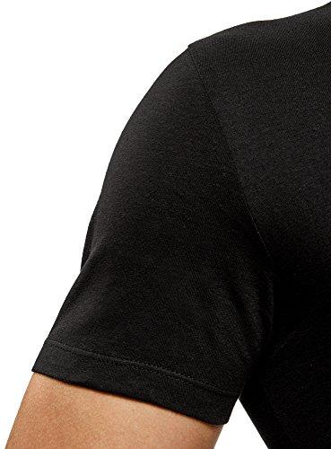 oodji Ultra Herren Tagless T-Shirt mit V-Ausschnitt (2er-Pack) Schwarz (2900N)