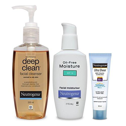 Neutrogena Oily Skin Combo(Deep Clean Facial Cleanser 200ml, Oil Free Moisturiser 115ml, Ultra Sheer Dry-Touch Sunblock SPF 50+ 30ml)