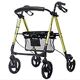 ADstore Medical Alluminio Leggero camminatore con Ruote Pieghevole Healthcare Compact City Viaggio deambulatore,Giallo
