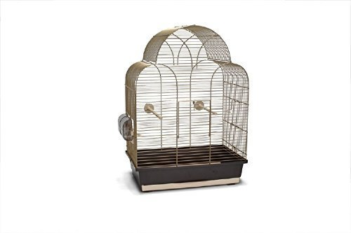Gold brauner Vogelkäfig Vogelhaus Vogelkäfige XL 45x28x63 cm Voliere inkl. Näpfen und Stangen