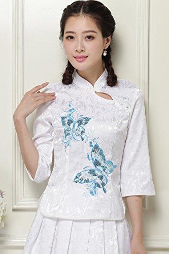 ACVIP Damen Retro Schmetterling Muster Bluse und Rock Baumwolle Cheongsam  Weiß