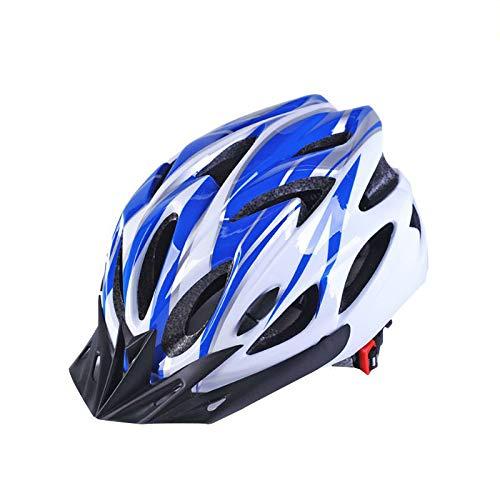 Ulmisfee Casco de Ciclismo Unisex para Adultos Casco de Bicicleta BMX para Ciclismo de Carretera Montaña Protección de Seguridad con Visera Extraíble y Correa Reflectante Ajustable (Azul&Blanco)