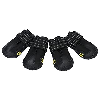 Dog Shoes Paw Protector for Medium Large Dogs Waterproof Black Rugged Anti Slip Pet Dog Boots for All Weather 4PCS By Alxcio - Size XXL