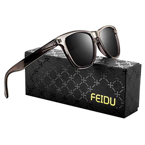 FEIDU Retro Polarisierte Damen Sonnenbrille Herren Sonnenbrille Outdoor UV400 Brille für Fahren Angeln Reisen FD 0628 (Braun, 60)