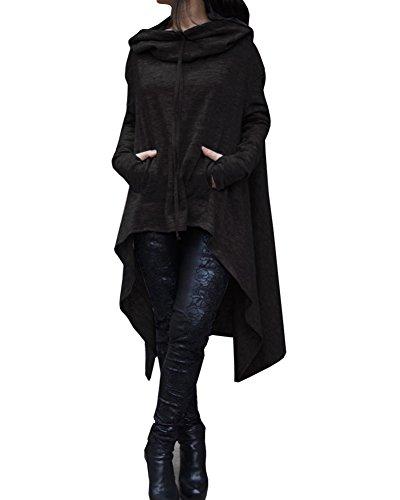 Sweat-Shirt à Capuche Femme Manches Longues Sweatshirts Hoodies Haut Longue Avec Poches Noir