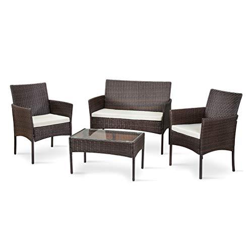 Nellguten 4-teiliger Rattan Korbstuhl Outdoor Gartenmöbel Sitzgruppe Essgruppe Set Sofa-Garnitur Lounge Braun -