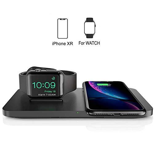 Seneo 2 en 1 Chargeur sans Fil, [iWatch & iPhone] Double Chargeur à Induction, Station de Charge pour iWatch Series 4/3/2,7.5W Chargeur Rapide pour iPhone XS MAX/XR/XS/X/8/8 Plus et AirPods