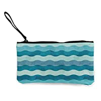 TTmom Women Canvas Coin Purse,Coin Purse Wallet for Women,Abstract Waves Pattern Pen Holder Stationery Organizer Change Purse Coin Pouch Mini Clutch Bag for Home and Office