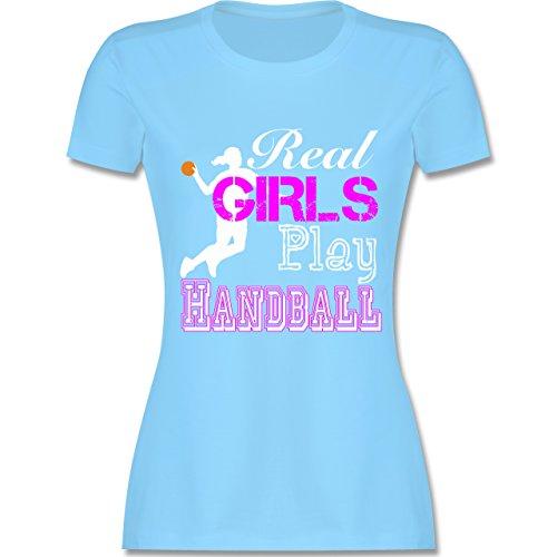 Handball - Real Girls Play Handball weiß - tailliertes Premium T-Shirt mit Rundhalsausschnitt für Damen Hellblau