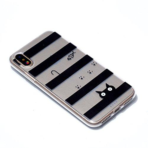 iphone X Custodia Cover, Cozy Hut iphone X Silicone Caso Molle di TPU Cristallo Trasparente Sottile Anti Scivolo Case Posteriore Della Copertura Della Protezione Anti-urto per iphone X - Liberi di vol Il gatto