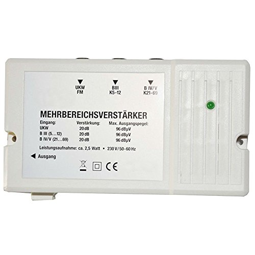 Eurosell DVBT DVBT2 DVBC Zubehör Fernseh Fernsehen Koax Verteiler F-Stecker / Verstärker (Mehrbereichsverstärker 20dB) …