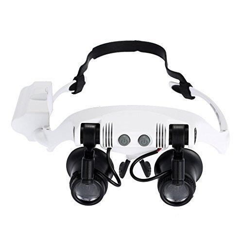 Foto de KKmoon 10x 15x 20x 25x Gafas de Aumento con 2 Luces LED Lupa Relojero Joyero Lupa de Reparación