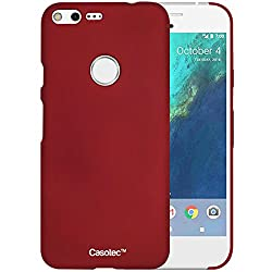 Casotec Ultra Slim Hard Shell Back Case Cover for Google Pixel - Maroon Red