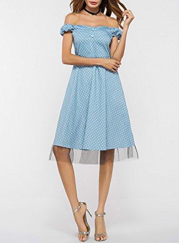 Azbro Women's off Shoulder Polka Dot Net Yarn Splicing Dress Light Blue