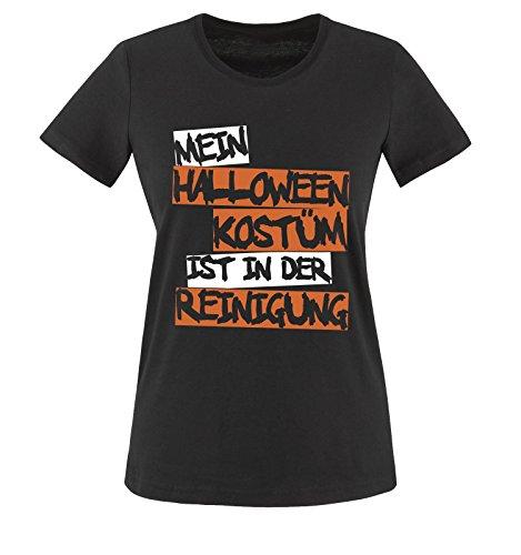Comedy Shirts - MEIN HALLOWEEN KOSTÜM IST IN DER REINIGUNG TEXT - Damen T-Shirt Schwarz / Weiss-Orange Gr. XXL