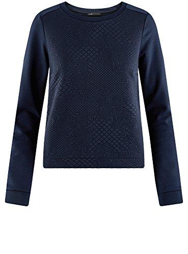 oodji Ultra Damen Kombiniertes Sweatshirt mit Rundem Ausschnitt Blau (7900N)