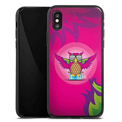 Apple iPhone X Silikon Hülle Case Schutzhülle Eule Pink Sonnenbrille Silikon Case schwarz
