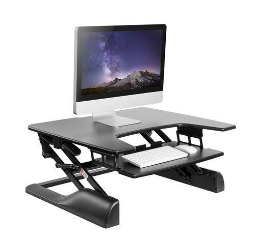 WOLTU Computertisch Sitz-Steh-Schreibtisch Sitz-Stand-Workstation Steharbeitsplatz Schreibtisch Stand Tisch höhenverstellbar klappbar Schwarz TS30sz