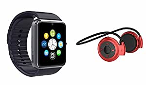 MIRZA Bluetooth GT08 Smart Watch & Bluetooth Headset for LG OPTIMUS 3D(Mini 503 Bluetooth Headset & GT08 Smart Watch Watch Phone with Camera & SIM Card Support Hot Fashion New Arrival Best Selling Premium Quality Lowest Price with Apps like Facebook,Whatsapp, Twitter, Sports, Health, Pedometer, Sedentary Remind,Compatible with Android iOS Mobile Tablet-Assorted Color)