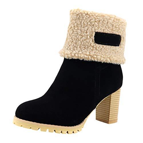 Botines Chelsea De Invierno para Mujer Zapatos De Nieve Cálidos De Tacón Alto con Punta Redonda De...